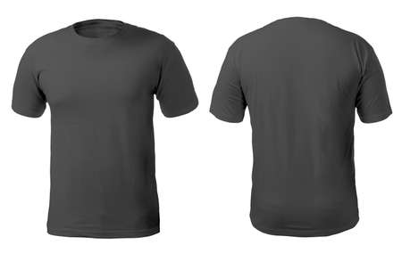 Blank black shirt mock up template, front and back view, isolated on white, plain t-shirt mockup. Tee sweater sweatshirt design presentation for print. 版權商用圖片 - 119776678