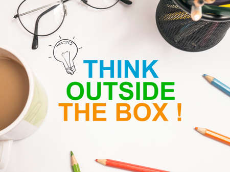 Think Outside The Box, business motivational inspirational quotes, words typography lettering concept Фото со стока