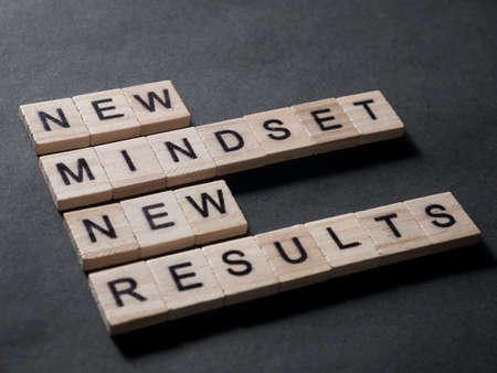 New mindset new results words letter, motivational self development business typography quotes concept