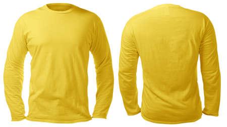 Leere, langärmelige T-Shirt-Mock-up-Vorlage, Vorder- und Rückansicht, isoliert auf weißem, schlichtem gelbem T-Shirt-Modell. T-Pullover Sweatshirt-Design-Präsentation für den Druck. Standard-Bild