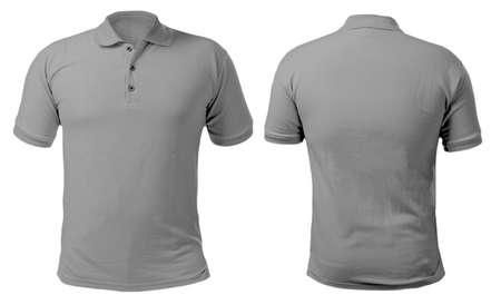 Camicia con colletto bianco mock up modello, vista anteriore e posteriore, isolato su bianco, semplice modello di t-shirt grigia. Presentazione del design della t-shirt polo per la stampa.