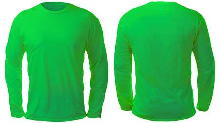 Leere, langärmelige T-Shirt-Mock-up-Vorlage, Vorder- und Rückansicht, isoliert auf weißem, schlichtem grünem T-Shirt-Modell. T-Pullover Sweatshirt-Design-Präsentation für den Druck.