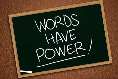 Worte haben Macht, motivierende inspirierende Zitate für Unternehmen, Worttypografie-Beschriftungskonzept