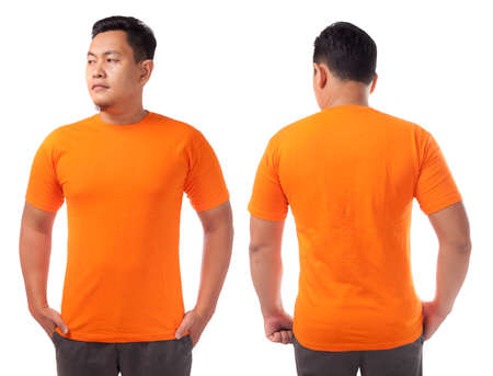 Orange t-shirt mock up, front and back view, isolated. Male model wear plain orange shirt mockup. Tshirt design template. Blank tee for print