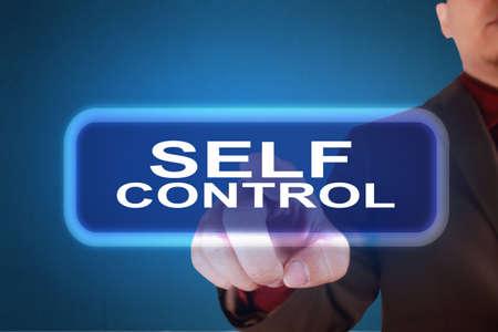 Autocontrol, citas inspiradoras motivacionales de negocios, concepto de letras de tipografía de palabras