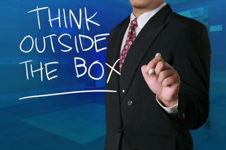 Think Outside The Box, business motivational inspirational quotes, words typography lettering concept Stock Photo