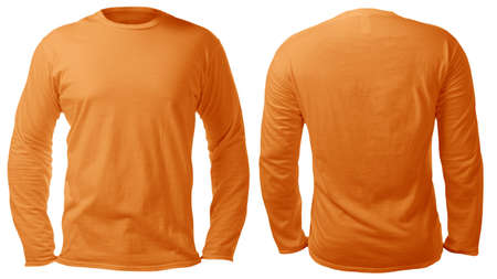 Blank long sleeved shirt mock up template, front and back view, isolated on white, plain orange t-shirt mockup. Tee sweater sweatshirt design presentation for print.