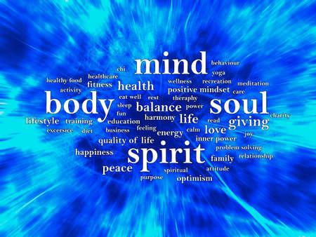 Body Mind Soul Spirit, biznesowe motywacyjne inspirujące cytaty, słowa typografia napis koncepcja