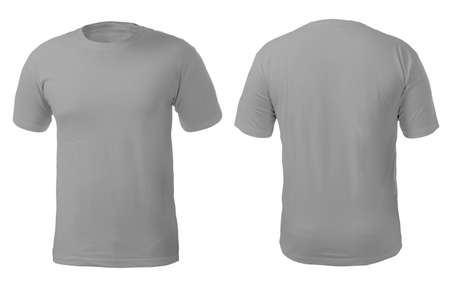 Blank gray shirt mock up template, front and back view, isolated on white, plain t-shirt mockup. Tee sweater sweatshirt design presentation for print.
