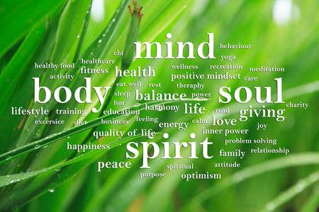 Body Mind Soul Spirit, motivierende inspirierende Zitate für Unternehmen, Worttypografie-Schriftzugkonzept Standard-Bild