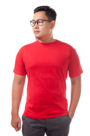 Red t-shirt mock up, front view, isolated. Male model wear plain red shirt mockup. Tshirt design template. Blank tee for print