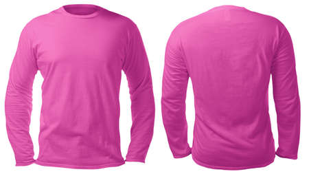 Blank long sleeved shirt mock up template, front and back view, isolated on white, plain pink t-shirt mockup. Tee sweater sweatshirt design presentation for print.