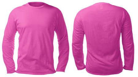 Leere, langärmelige T-Shirt-Mock-up-Vorlage, Vorder- und Rückansicht, isoliert auf weißem, schlichtem rosa T-Shirt-Modell. T-Pullover Sweatshirt-Design-Präsentation für den Druck.
