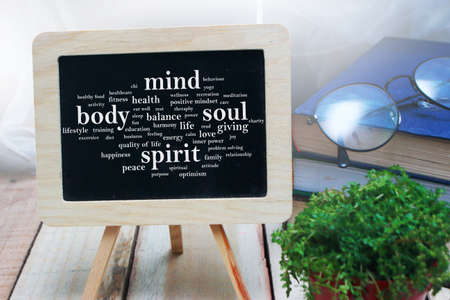 Body Mind Soul Spirit, business motivational inspirational quotes, words typography lettering concept