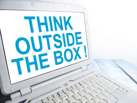 Think Outside The Box, business motivational inspirational quotes, words typography lettering concept Banco de Imagens