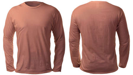 Blank long sleeved shirt mock up template, front and back view, isolated on white, plain brown t-shirt mockup. Tee sweater sweatshirt design presentation for print.