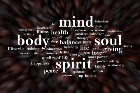 Body Mind Soul Spirit, citazioni ispiratrici motivazionali aziendali, parole tipografia lettering concept Archivio Fotografico