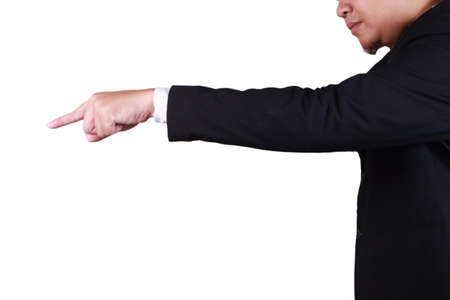 Businessman pointing forward, side view profile. Direction or giving order concept