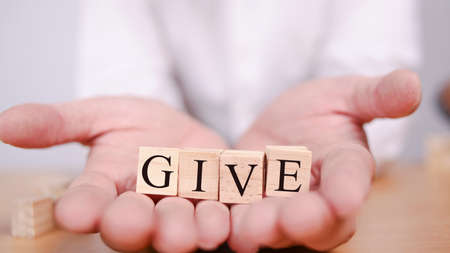 Give, business motivational business typography quotes concept Stok Fotoğraf