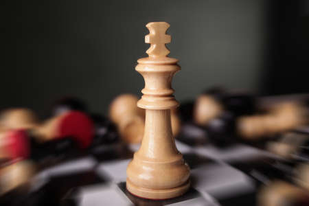 Chess game, close up image with selective focus, business strategy concept Imagens