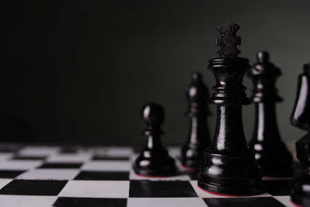 Chess game, close up image with selective focus, business strategy concept