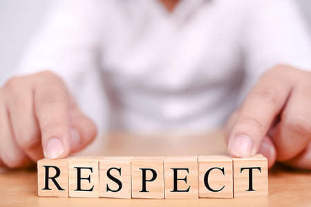Respect in wooden words letter, motivational self development business typography quotes concept
