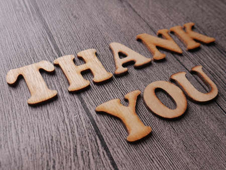 Thanks, thank you words letter, wooden motivational business typography quotes concept Reklamní fotografie