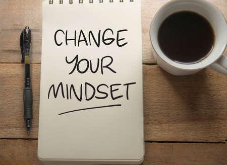 Changez votre état d'esprit, citations inspirantes de motivation d'entreprise, concept de lettrage de typographie de mots