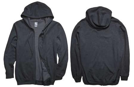 Blank Sweatshirt Mock-up, Vorder- und Rückansicht, isoliert auf weiss. Schlichtes schwarzes Hoodie-Modell. Präsentation des Hoody-Designs. Pullover zum Drucken. Blanke Kleidung Sweatshirt Pullover