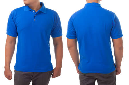 Blank collared shirt mock up template, front and back view, Asian male model wearing plain blue t-shirt isolated on white. Polo tee design mockup presentation for print.