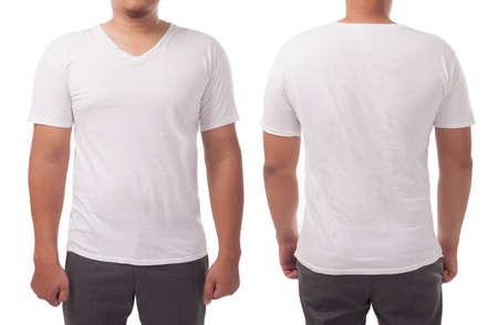 White v-neck t-shirt mock up, front and back view, isolated. Male model wear plain white shirt mockup. V Neck shirt design template. Blank tees for print