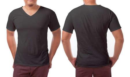 Black v-neck t-shirt mock up, front and back view, isolated. Male model wear plain black shirt mockup. V Neck shirt design template. Blank tees for print