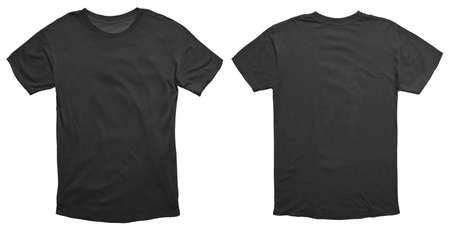 Camisa negra en blanco maqueta plantilla, vista frontal y trasera, aislada en blanco, maqueta de camiseta lisa. Presentación del diseño de la sudadera del suéter de la camiseta para la impresión. Foto de archivo