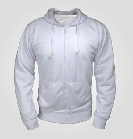 Blank sweatshirt mock up, front view, over grey background. Plain white hoodie mockup. Hoody design presentation. Jumper for print. Blank clothes sweat shirt sweater