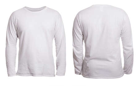 Blank long sleeved shirt mock up template, front and back view, isolated on white, plain t-shirt mockup. Tee sweater sweatshirt design presentation for print.