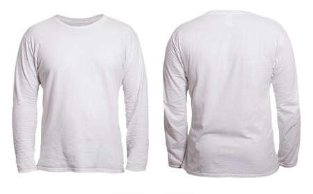 Leere, langärmelige T-Shirt-Mock-up-Vorlage, Vorder- und Rückansicht, isoliert auf weißem, schlichtem T-Shirt-Modell. T-Pullover Sweatshirt-Design-Präsentation für den Druck.