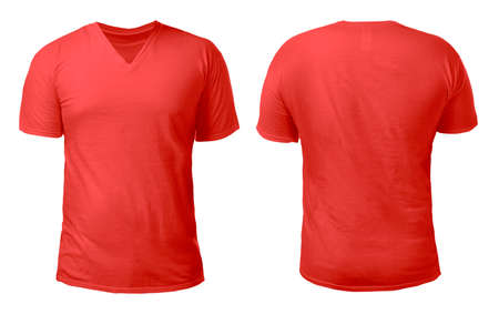 Red v-neck t-shirt mock up, front and back view, isolated. Male model wear plain red shirt mockup. V Neck shirt design template. Blank tees for print