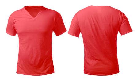 Rotes T-Shirt mit V-Ausschnitt Mock-up, Vorder- und Rückansicht, isoliert. Männliches Model trägt ein schlichtes rotes Hemdmodell. V-Ausschnitt-Shirt-Design-Vorlage. Blanko-T-Shirts zum Drucken
