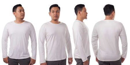 White long sleeved t-shirt mock up, front side and back view, isolated. Male model wear plain white shirt mockup. Long sleeve shirt design template. Blank tees for print 版權商用圖片 - 134469792