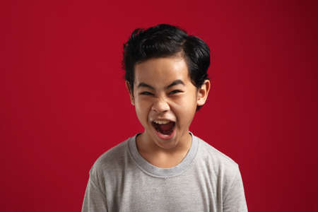 Portrait of angry Asian boy screaming loud, naughty rebel school student concept, isolated on red background