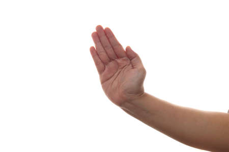 Hand of a person slapping or hitting with palm karate gesture, isolated on white background