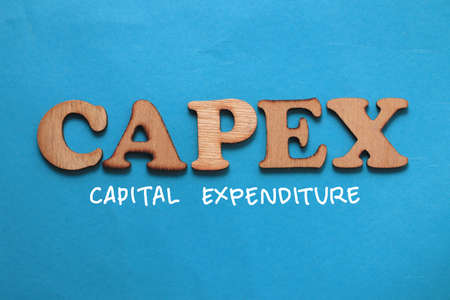 Capex Capital Expenditure, text words typography written on blue background, life and business motivational inspirational concept