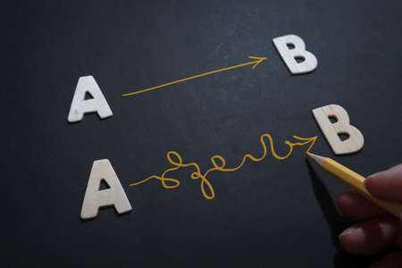 A to B planning and reality, text words typography written with wooden letter on black background, life and business motivational inspirational concept