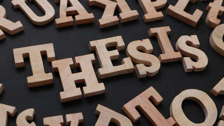 Thesis, text words typography written with wooden letter on black background, life and business motivational inspirational concept Foto de archivo