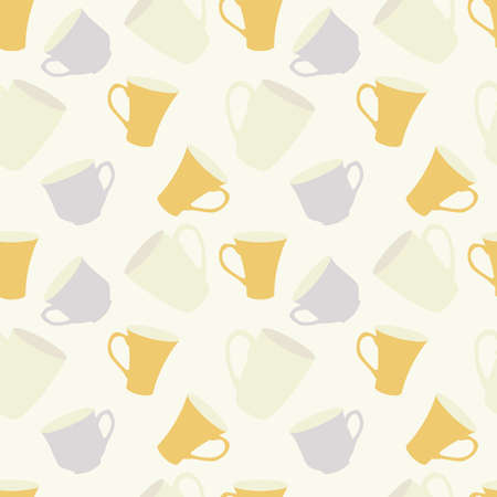 pale colour: Seamless pattern with cups in retro colors
