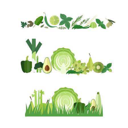 green vegetable: Three green vegetable banners Illustration