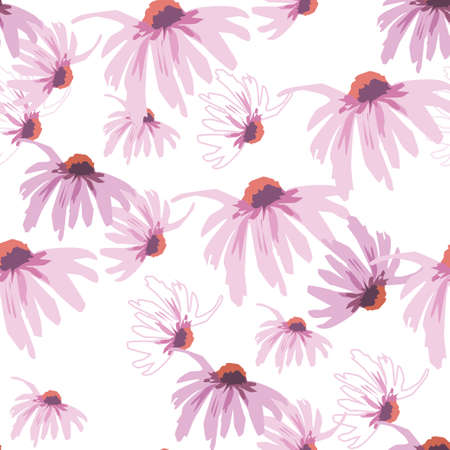 Seamless densely filled pattern with echinacea flower isolated on white.
