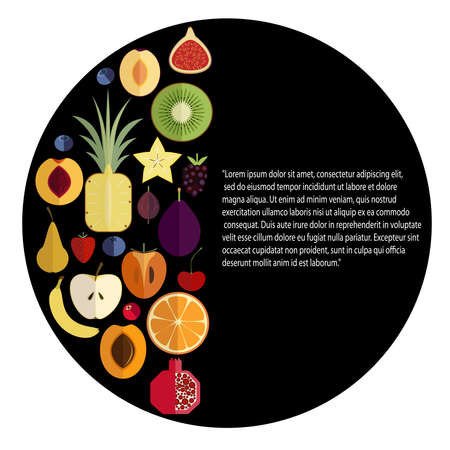 semicircle: Illustration of fruits in semicircle on black background.