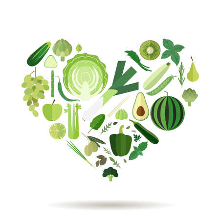 Illustration of a heart filled with green fruits and vegetables and herbs.