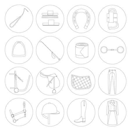 Equitation icônes linéaires sur fond blanc. Banque d'images - 41975146